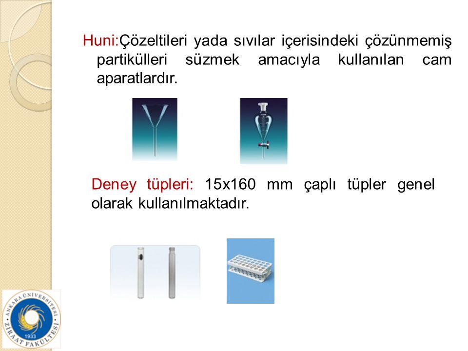 Huni:Çözeltileri yada sıvılar içerisindeki çözünmemiş partikülleri süzmek amacıyla kullanılan cam aparatlardır.