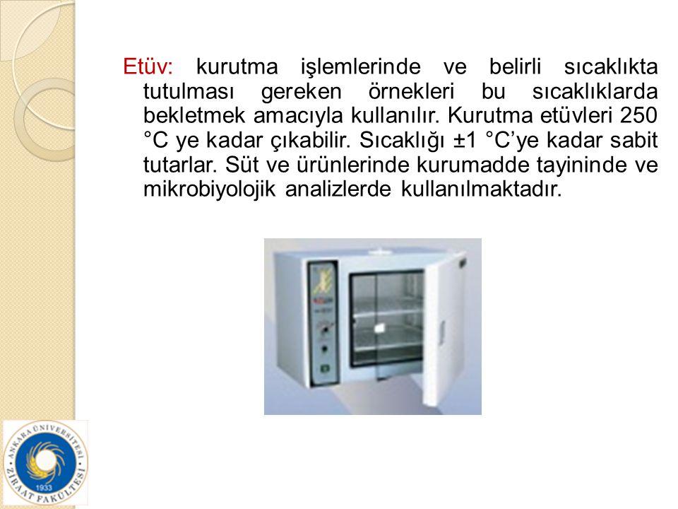 Etüv: kurutma işlemlerinde ve belirli sıcaklıkta tutulması gereken örnekleri bu sıcaklıklarda bekletmek amacıyla kullanılır.