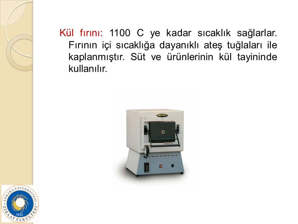 Kül fırını: 1100 C ye kadar sıcaklık sağlarlar