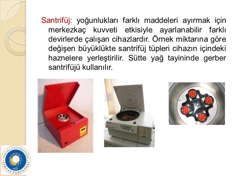 Santrifüj: yoğunlukları farklı maddeleri ayırmak için merkezkaç kuvveti etkisiyle ayarlanabilir farklı devirlerde çalışan cihazlardır.