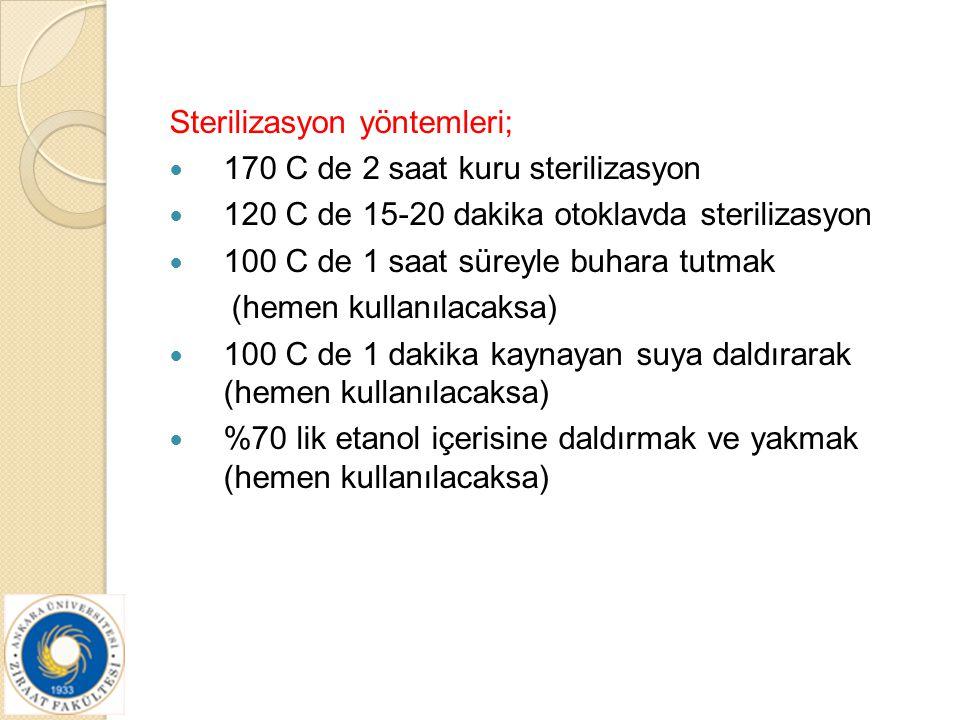 Sterilizasyon yöntemleri;
