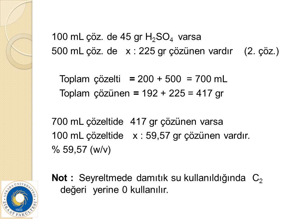 100 mL çöz. de 45 gr H2SO4 varsa 500 mL çöz