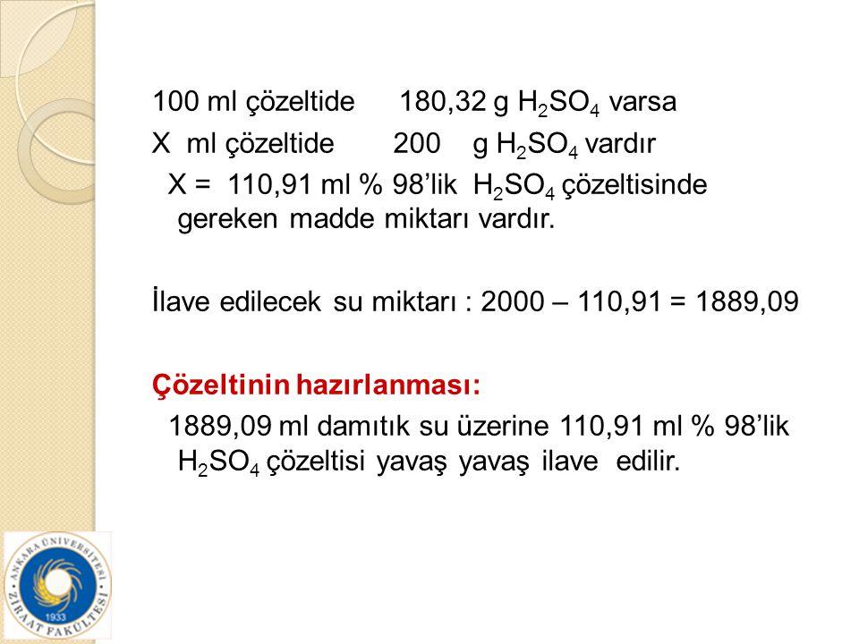 100 ml çözeltide 180,32 g H2SO4 varsa