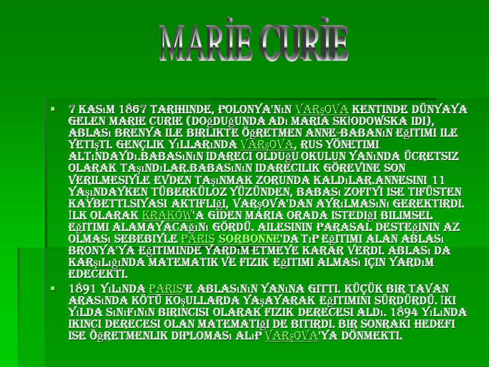 MARİE CURİE