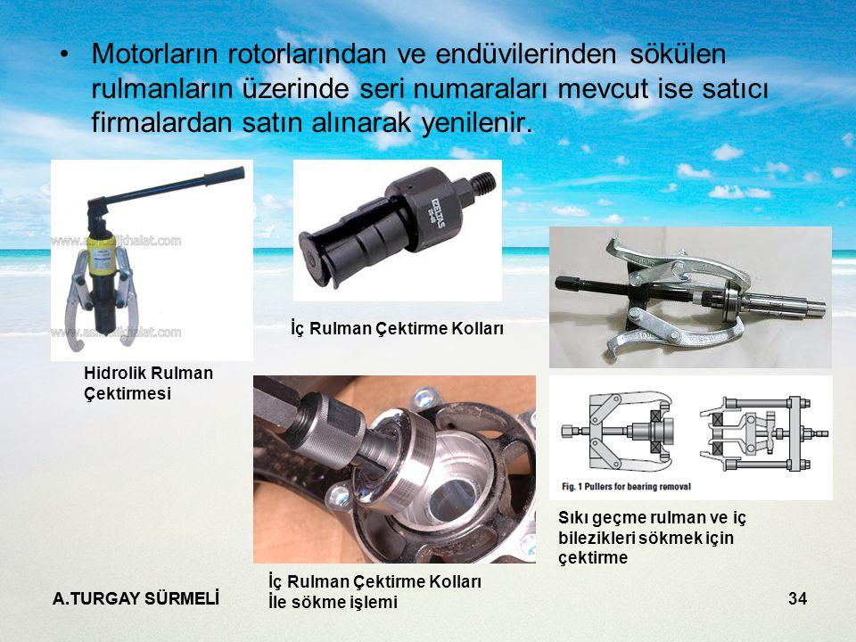 Motorların rotorlarından ve endüvilerinden sökülen rulmanların üzerinde seri numaraları mevcut ise satıcı firmalardan satın alınarak yenilenir.
