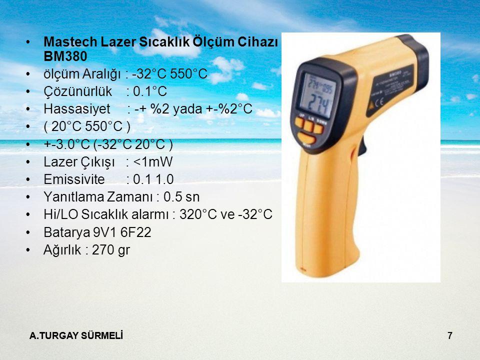 Mastech Lazer Sıcaklık Ölçüm Cihazı BM380 ölçüm Aralığı : -32°C 550°C