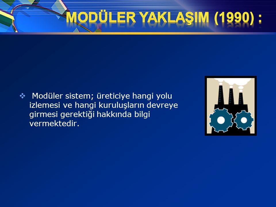 MODÜLER YAKLAŞIM (1990) : Modüler sistem; üreticiye hangi yolu izlemesi ve hangi kuruluşların devreye girmesi gerektiği hakkında bilgi vermektedir.