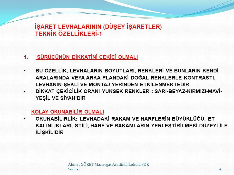 İŞARET LEVHALARININ (DÜŞEY İŞARETLER) TEKNİK ÖZELLİKLERİ-1