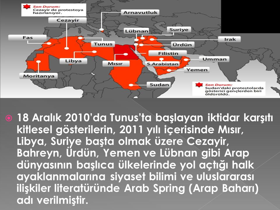 18 Aralık 2010'da Tunus'ta başlayan iktidar karşıtı kitlesel gösterilerin, 2011 yılı içerisinde Mısır, Libya, Suriye başta olmak üzere Cezayir, Bahreyn, Ürdün, Yemen ve Lübnan gibi Arap dünyasının başlıca ülkelerinde yol açtığı halk ayaklanmalarına siyaset bilimi ve uluslararası ilişkiler literatüründe Arab Spring (Arap Baharı) adı verilmiştir.
