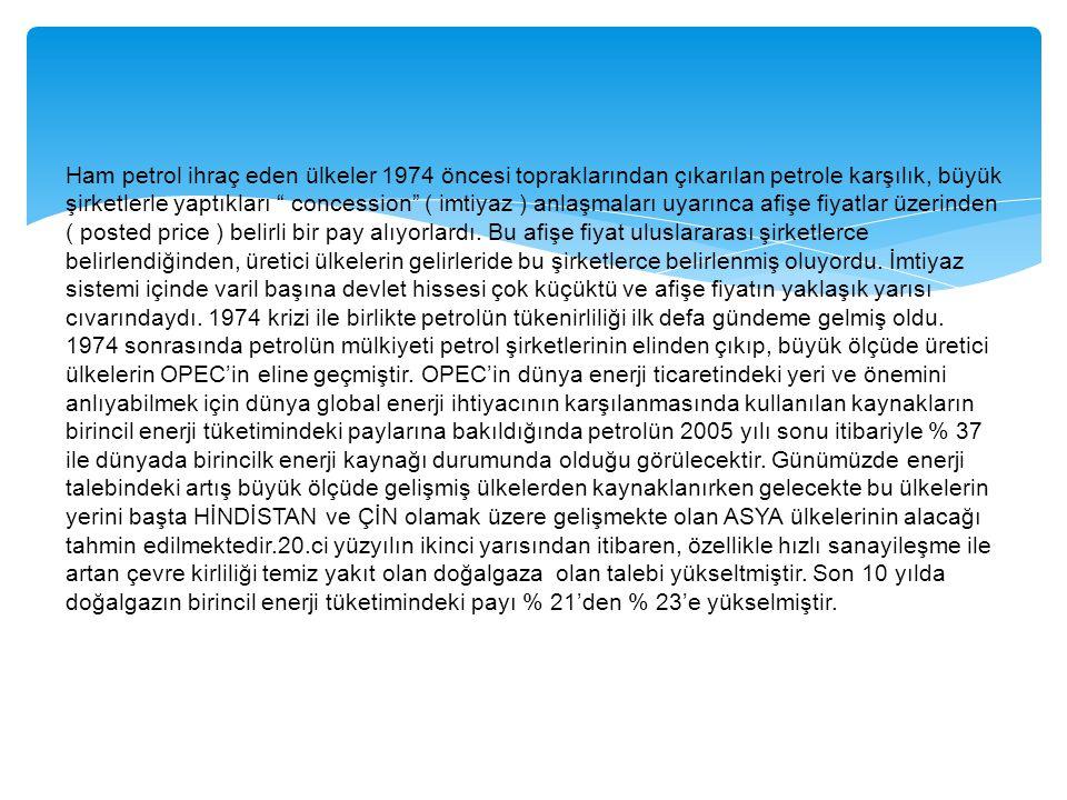 Ham petrol ihraç eden ülkeler 1974 öncesi topraklarından çıkarılan petrole karşılık, büyük şirketlerle yaptıkları concession ( imtiyaz ) anlaşmaları uyarınca afişe fiyatlar üzerinden ( posted price ) belirli bir pay alıyorlardı.