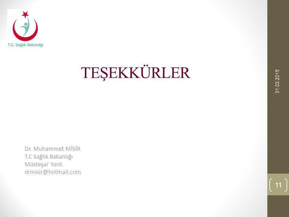 TEŞEKKÜRLER Dr. Muhammet MİSİR T.C Sağlık Bakanlığı Müsteşar Yard.