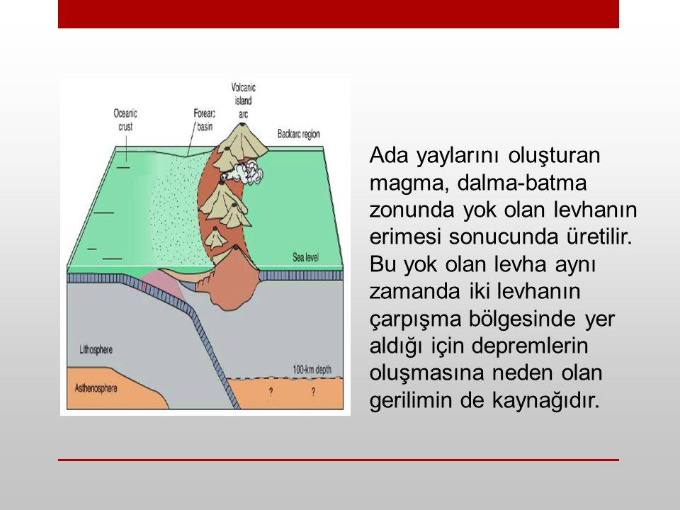 Ada yaylarını oluşturan magma, dalma-batma zonunda yok olan levhanın erimesi sonucunda üretilir.