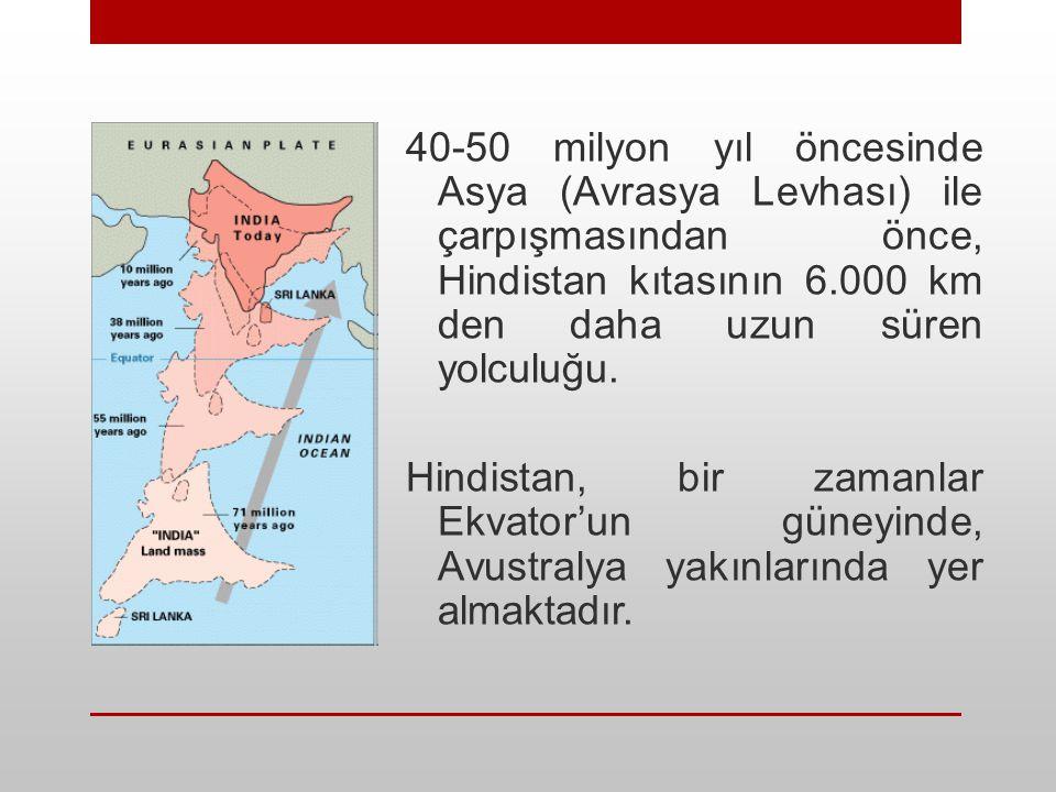 40-50 milyon yıl öncesinde Asya (Avrasya Levhası) ile çarpışmasından önce, Hindistan kıtasının 6.000 km den daha uzun süren yolculuğu.