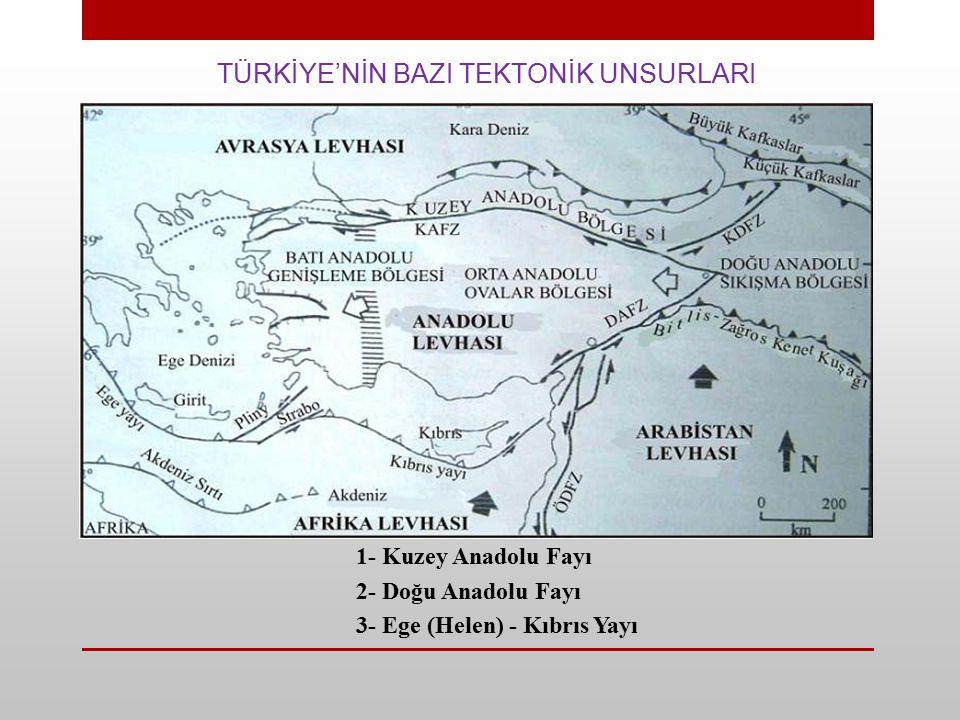 TÜRKİYE'NİN BAZI TEKTONİK UNSURLARI