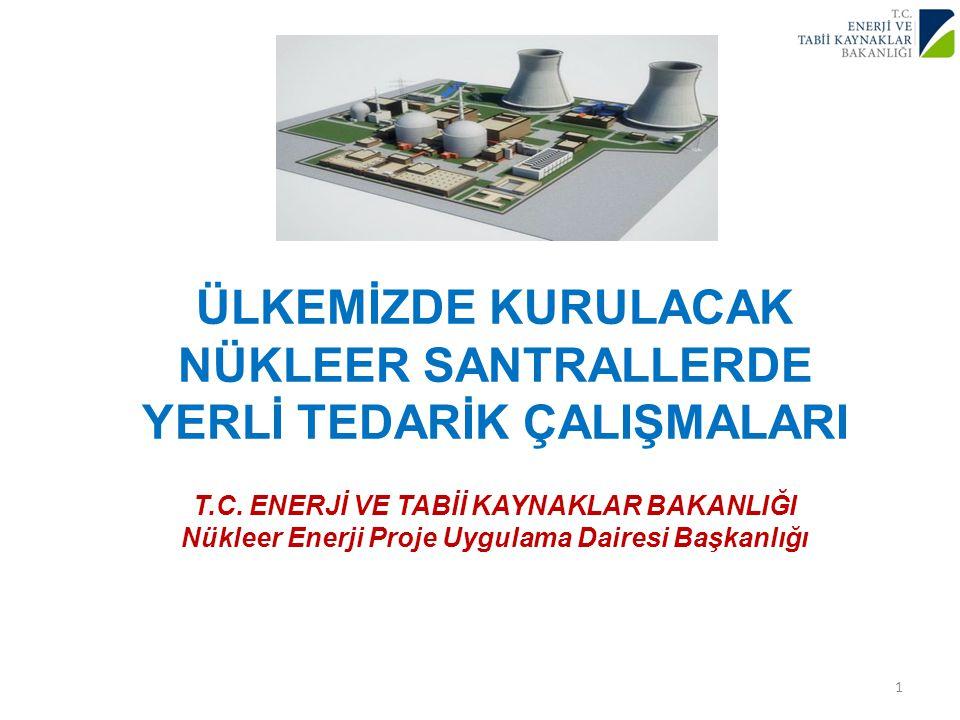 ÜLKEMİZDE KURULACAK NÜKLEER SANTRALLERDE YERLİ TEDARİK ÇALIŞMALARI T.C. ENERJİ VE TABİİ KAYNAKLAR BAKANLIĞI Nükleer Enerji Proje Uygulama Dairesi Başkanlığı