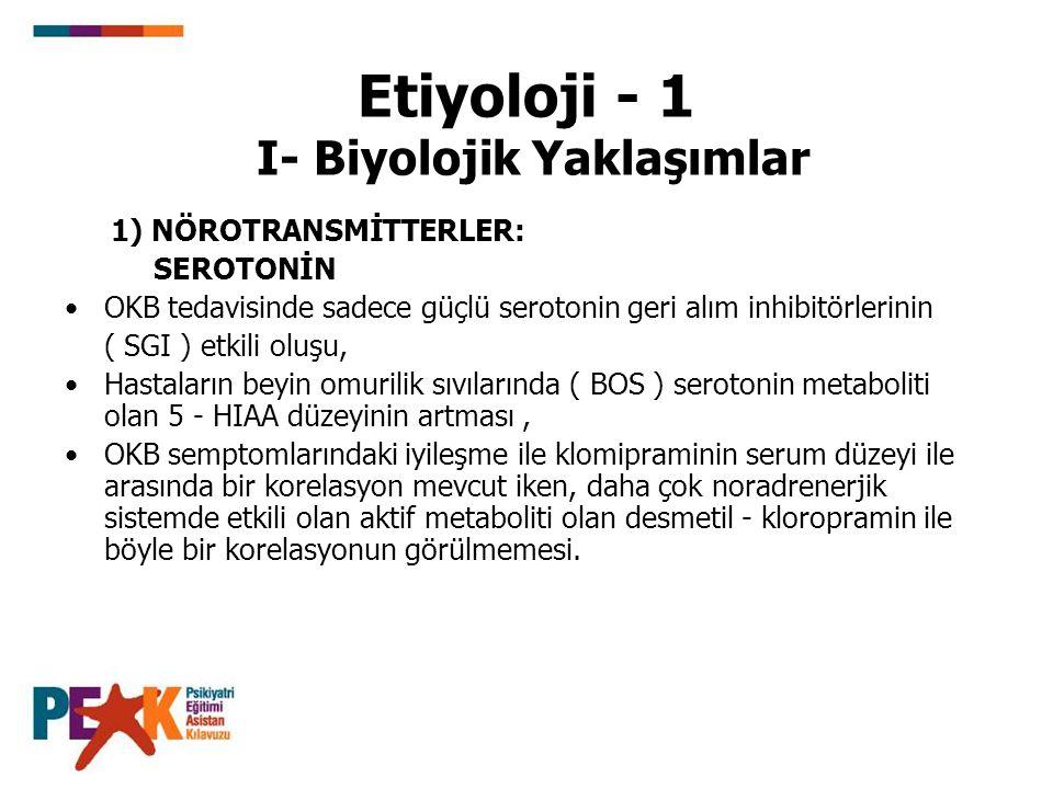 Etiyoloji - 1 I- Biyolojik Yaklaşımlar