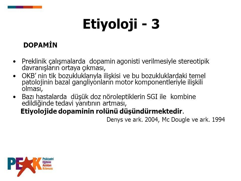Etiyoloji - 3 DOPAMİN. Preklinik çalışmalarda dopamin agonisti verilmesiyle stereotipik davranışların ortaya çıkması,