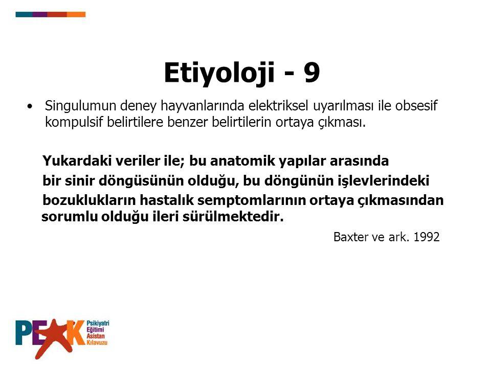 Etiyoloji - 9 Singulumun deney hayvanlarında elektriksel uyarılması ile obsesif kompulsif belirtilere benzer belirtilerin ortaya çıkması.