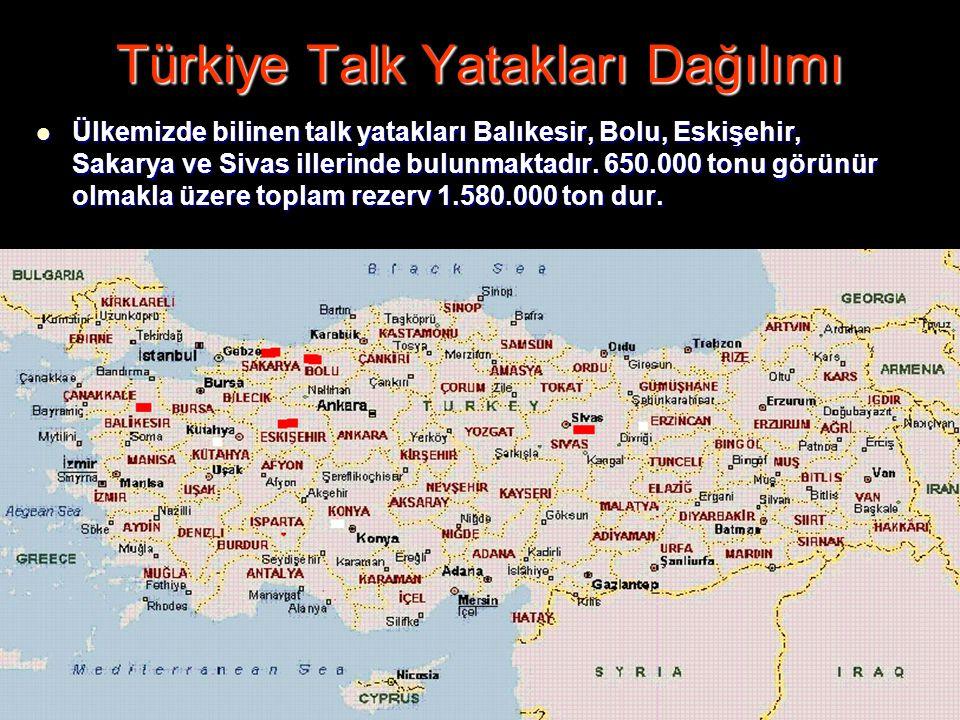 Türkiye Talk Yatakları Dağılımı