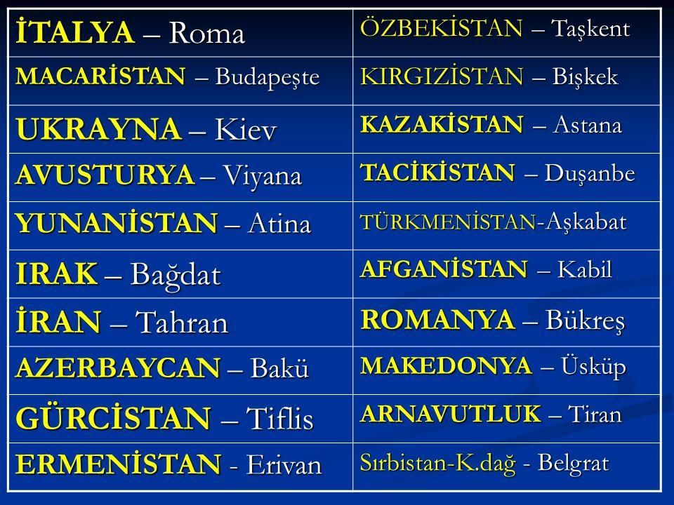 İTALYA – Roma UKRAYNA – Kiev IRAK – Bağdat İRAN – Tahran