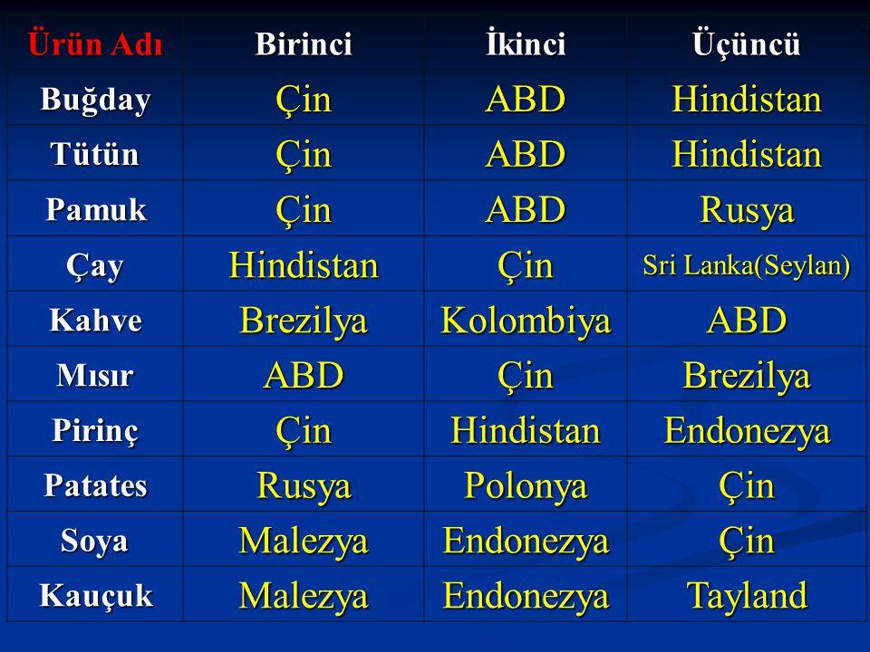Çin ABD Hindistan Rusya Brezilya Kolombiya Endonezya Polonya Malezya