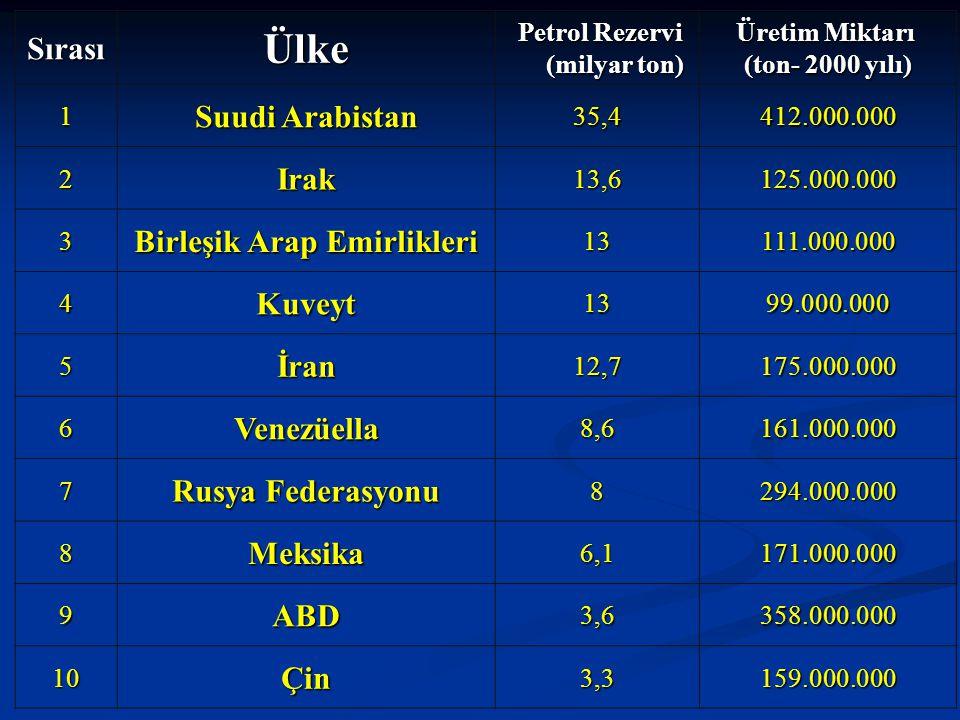 Petrol Rezervi (milyar ton) Birleşik Arap Emirlikleri