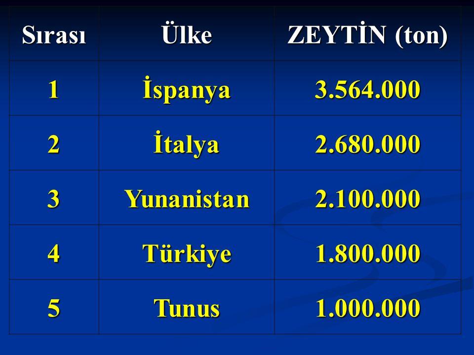 Sırası Ülke. ZEYTİN (ton) 1. İspanya. 3.564.000. 2. İtalya. 2.680.000. 3. Yunanistan. 2.100.000.