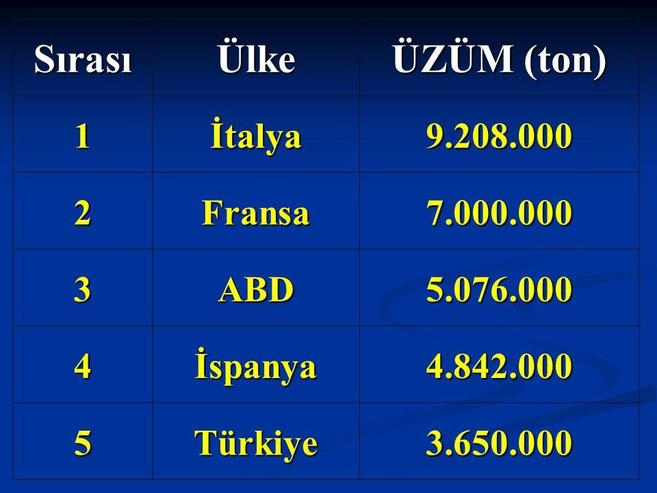 Sırası Ülke ÜZÜM (ton) 1 İtalya 9.208.000 2 Fransa 7.000.000 3 ABD