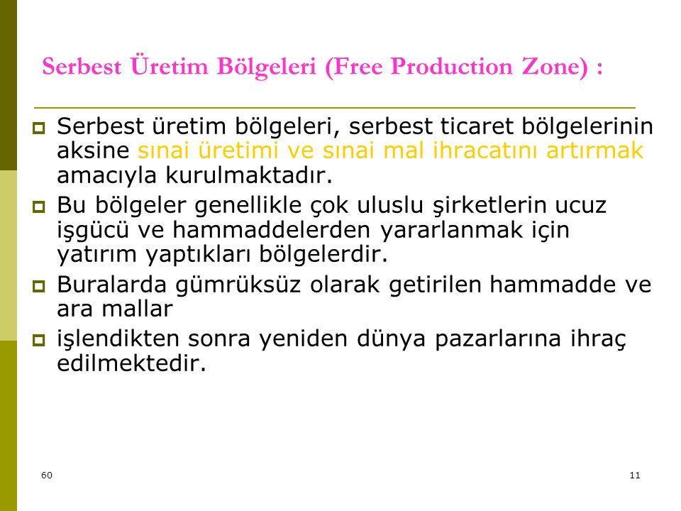 Serbest Üretim Bölgeleri (Free Production Zone) :