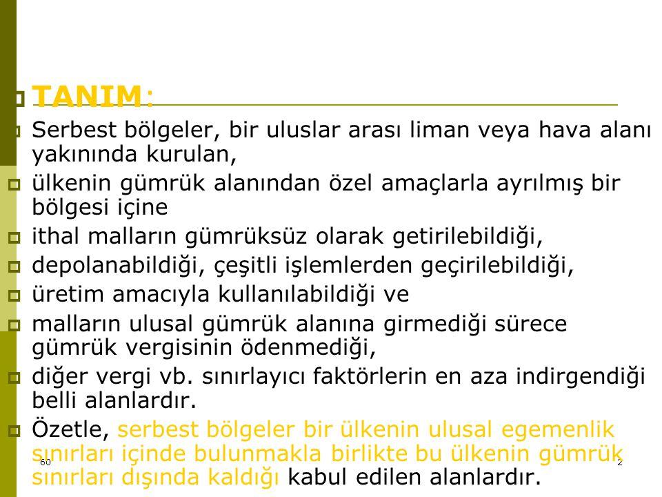 TANIM: Serbest bölgeler, bir uluslar arası liman veya hava alanı yakınında kurulan,