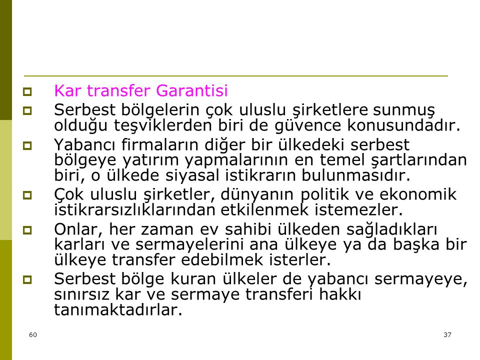Kar transfer Garantisi