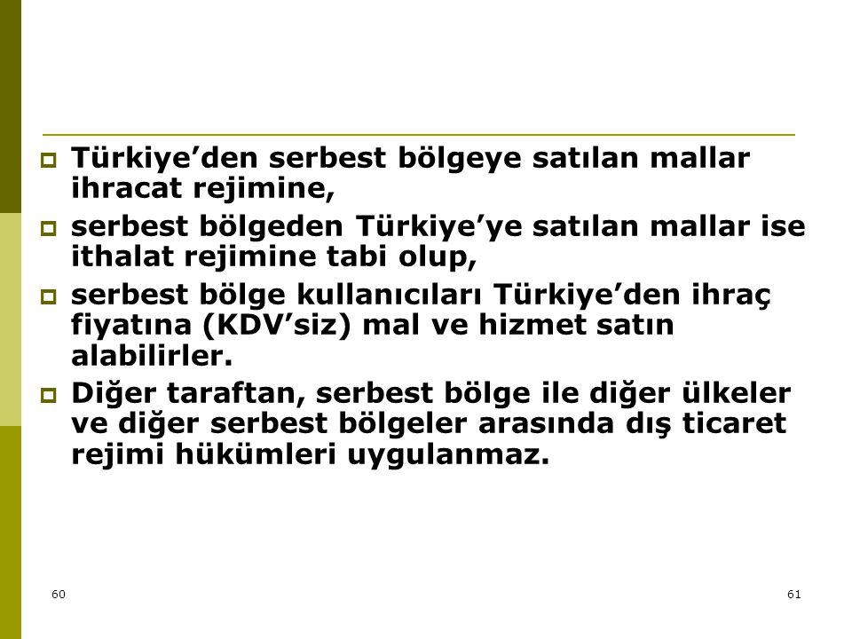 Türkiye'den serbest bölgeye satılan mallar ihracat rejimine,