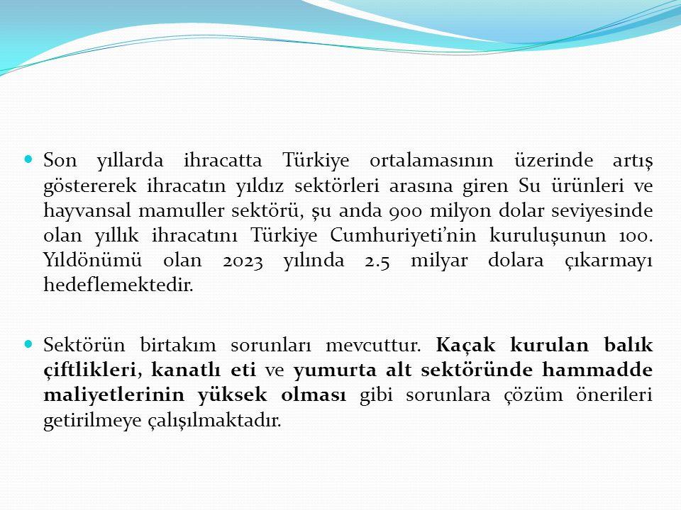Son yıllarda ihracatta Türkiye ortalamasının üzerinde artış göstererek ihracatın yıldız sektörleri arasına giren Su ürünleri ve hayvansal mamuller sektörü, şu anda 900 milyon dolar seviyesinde olan yıllık ihracatını Türkiye Cumhuriyeti'nin kuruluşunun 100. Yıldönümü olan 2023 yılında 2.5 milyar dolara çıkarmayı hedeflemektedir.