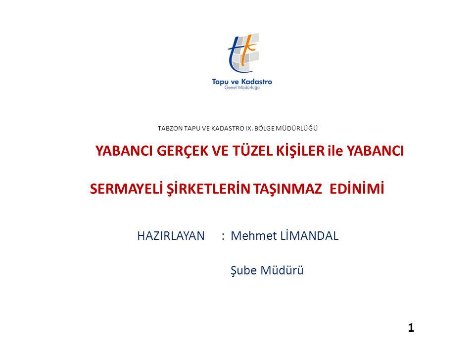 HAZIRLAYAN : Mehmet LİMANDAL Şube Müdürü 1