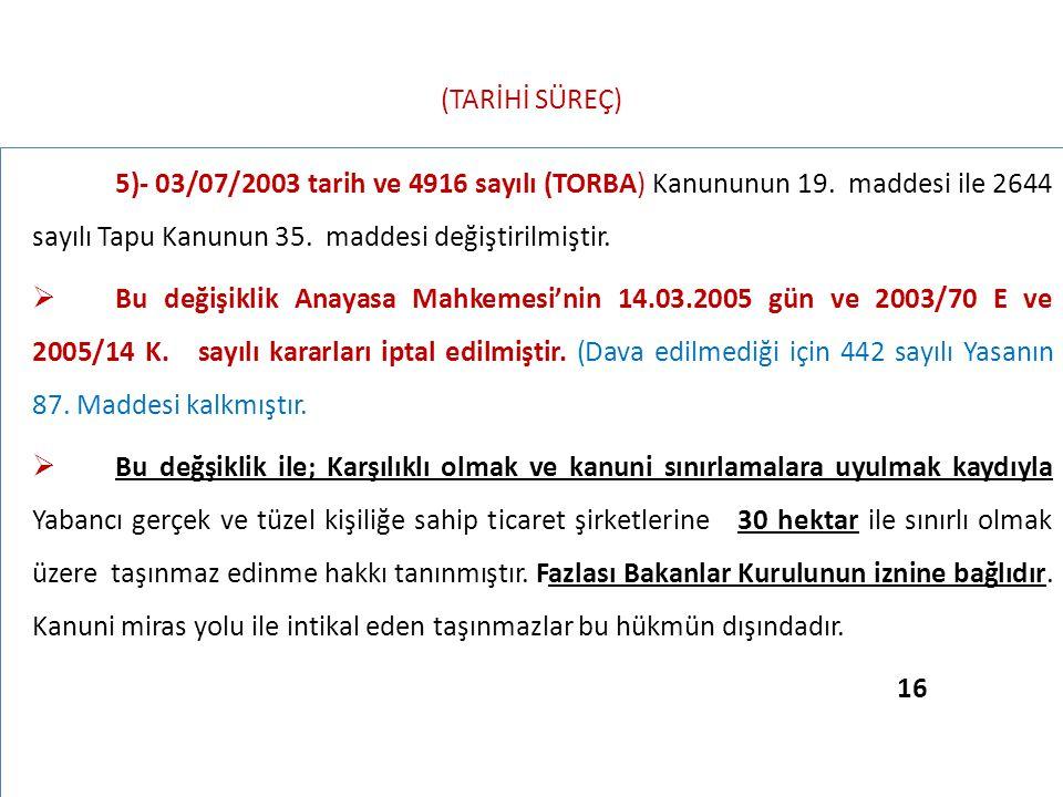 (TARİHİ SÜREÇ) 5)- 03/07/2003 tarih ve 4916 sayılı (TORBA) Kanununun 19. maddesi ile 2644 sayılı Tapu Kanunun 35. maddesi değiştirilmiştir.