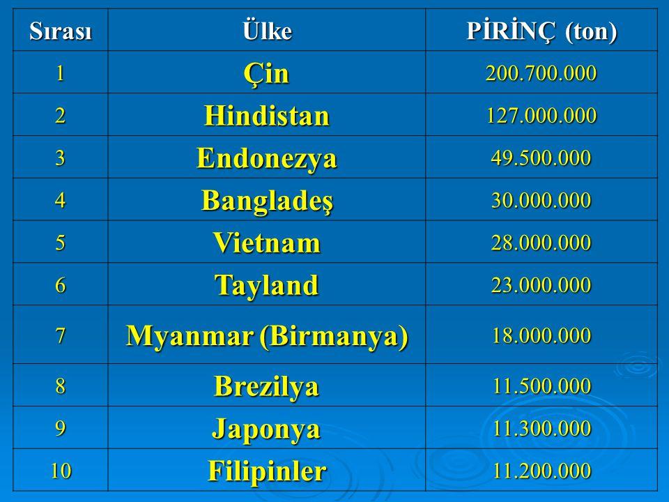 Çin Hindistan Endonezya Bangladeş Vietnam Tayland Myanmar (Birmanya)