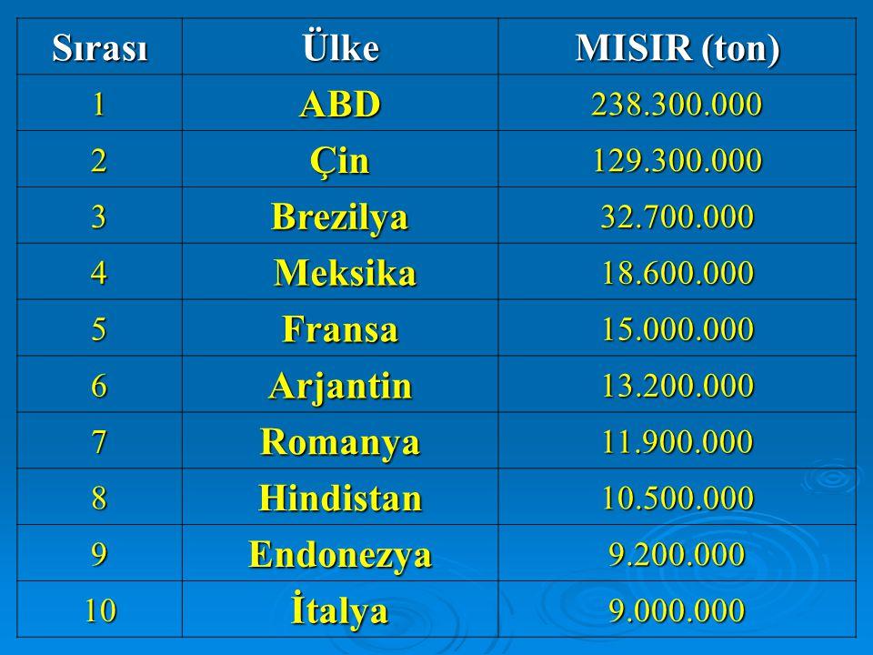 Sırası Ülke MISIR (ton) ABD Çin Brezilya Meksika Fransa Arjantin