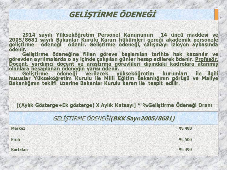 GELİŞTİRME ÖDENEĞİ(BKK Sayı:2005/8681)