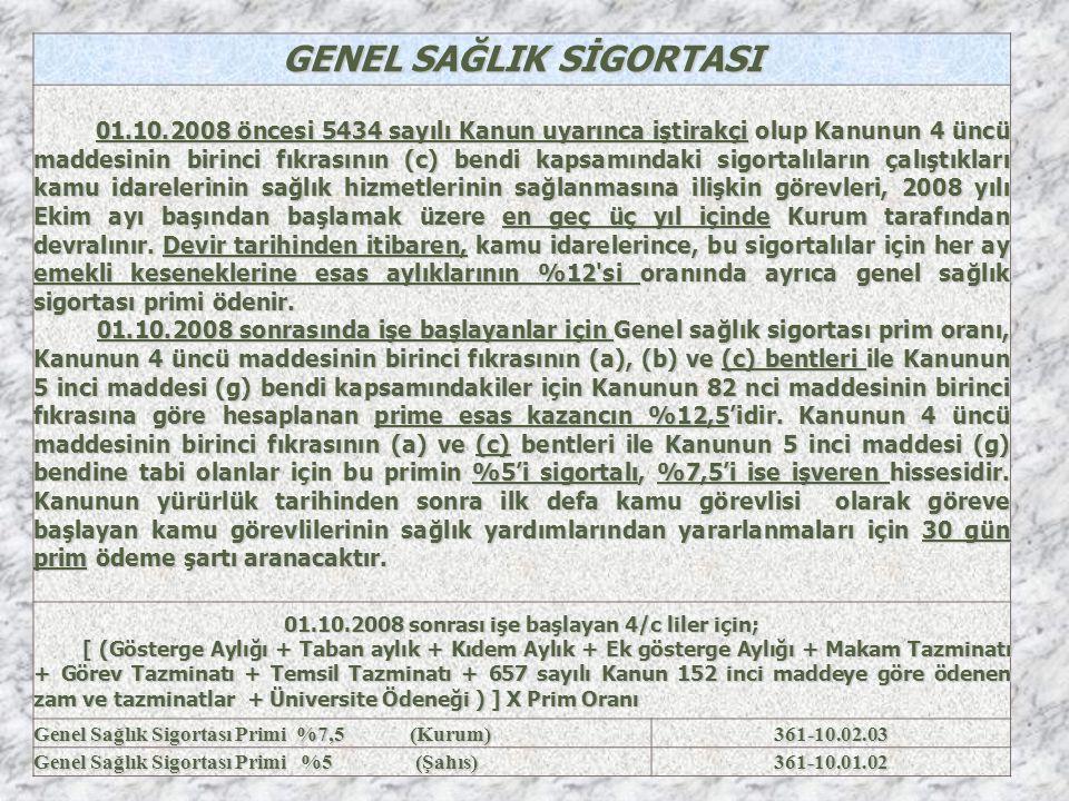GENEL SAĞLIK SİGORTASI 01.10.2008 sonrası işe başlayan 4/c liler için;