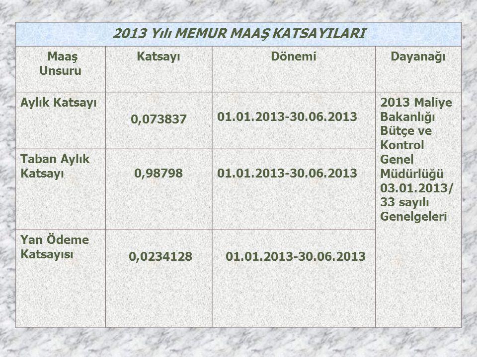 2013 Yılı MEMUR MAAŞ KATSAYILARI