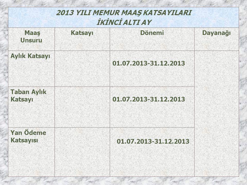 2013 YILI MEMUR MAAŞ KATSAYILARI