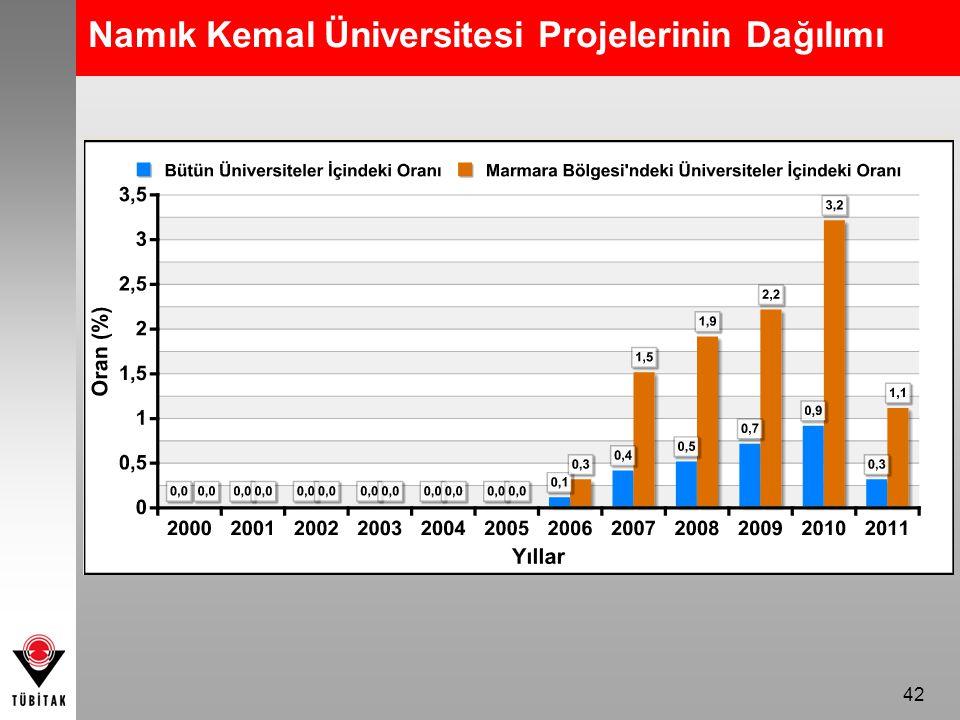 Namık Kemal Üniversitesi Projelerinin Dağılımı