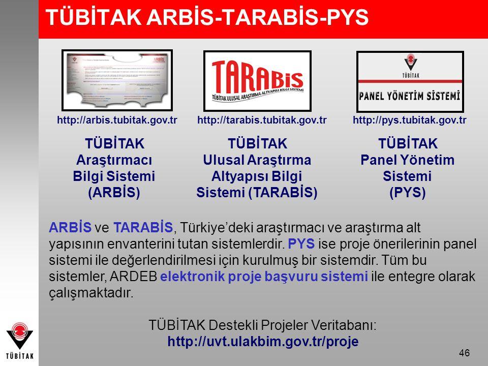 TÜBİTAK ARBİS-TARABİS-PYS