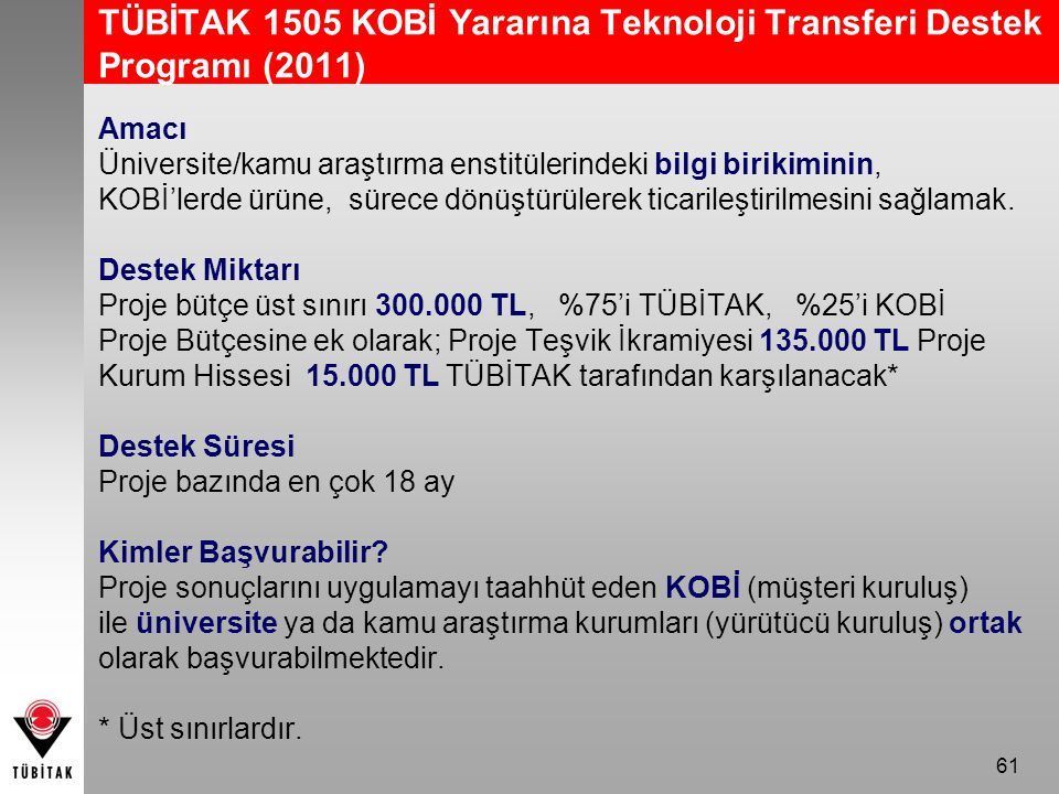 TÜBİTAK 1505 KOBİ Yararına Teknoloji Transferi Destek Programı (2011)