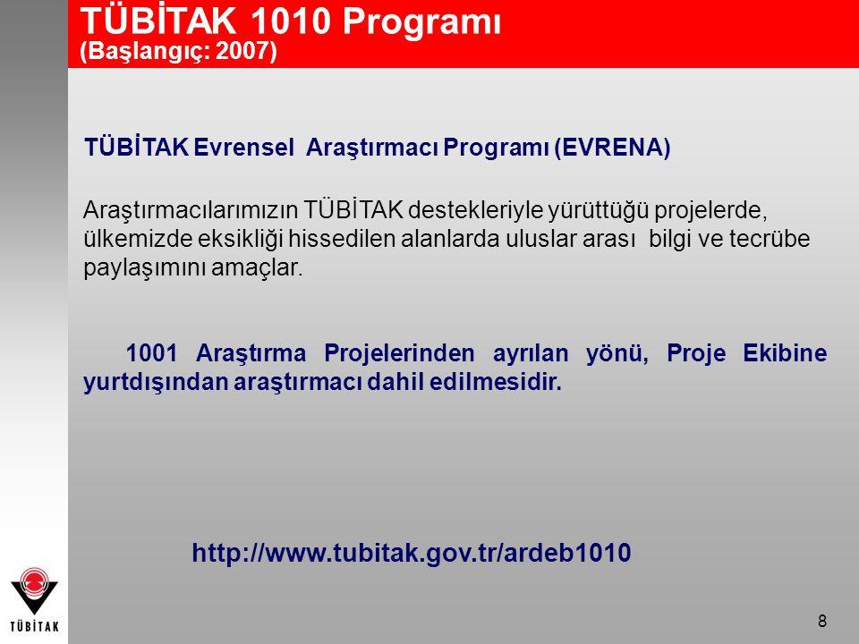TÜBİTAK 1010 Programı http://www.tubitak.gov.tr/ardeb1010