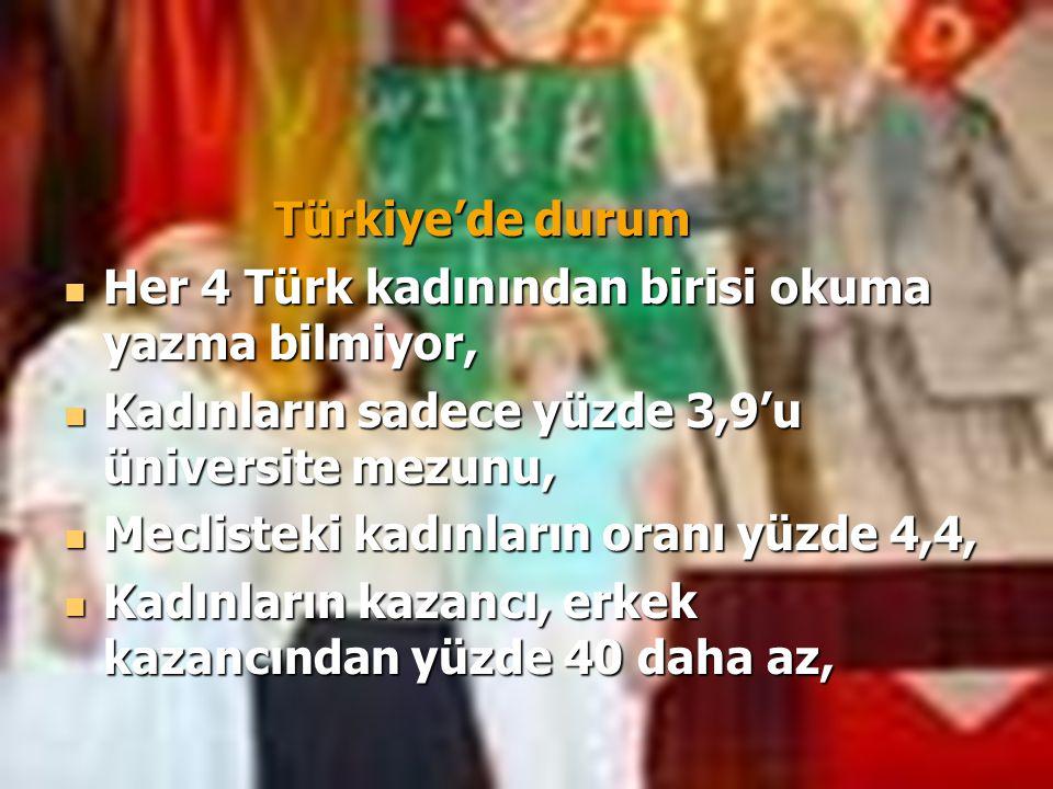 Türkiye'de durum Her 4 Türk kadınından birisi okuma yazma bilmiyor, Kadınların sadece yüzde 3,9'u üniversite mezunu,