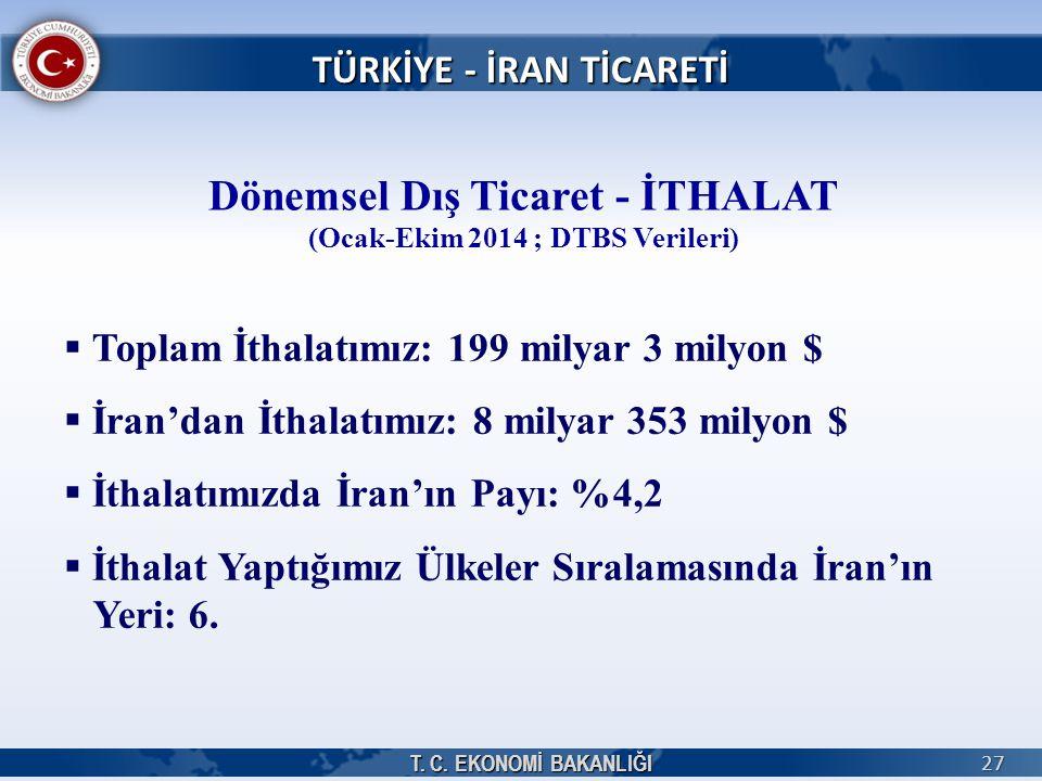 Dönemsel Dış Ticaret - İTHALAT (Ocak-Ekim 2014 ; DTBS Verileri)