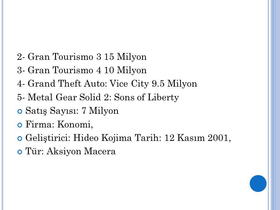 2- Gran Tourismo 3 15 Milyon 3- Gran Tourismo 4 10 Milyon. 4- Grand Theft Auto: Vice City 9.5 Milyon.