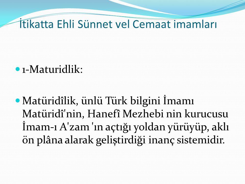 İtikatta Ehli Sünnet vel Cemaat imamları