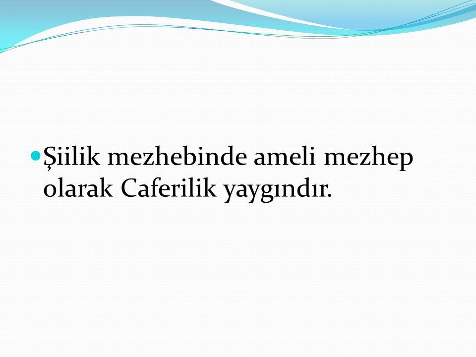 Şiilik mezhebinde ameli mezhep olarak Caferilik yaygındır.